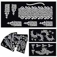 Wholesale Indian Henna Tattoo Stencils For Painting Temporary Black Mehndi Tattoo Stencils For Glitter Tatoo Template Henna Kit