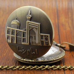 Wholesale-Vintage Bronze Engraved Beautiful Building Architecture Full Hunter Pocket Watch with Chain