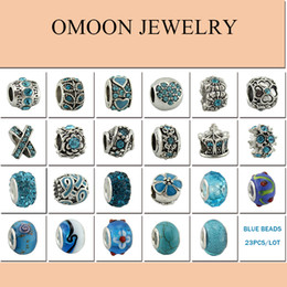 Wholesale-23PCS 925 sterling silver DIY thread Murano Glass Beads Charms fit Europe pandora Bracelets Fashion accessories for diy jewelry