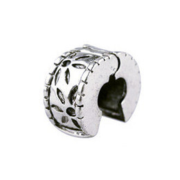 Wholesale Silver Bead Charm European Flower Stopper Safety Lock Bead Fit pandora bracelets amp bangles DIY Jewelry H1002