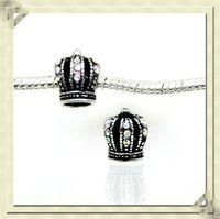 european beads free shipping - mm Antique silver rhinestone crown european charm beads DIY alloy european beads fit Pandora bracelets