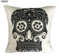 Cheap Wholesale-43cm*43cm Home Decoration Vintage Cotton Linen Skull Pillowcase Skull Cushion Cover Pillow Case Sofa Bed Car cushion Cover C8032