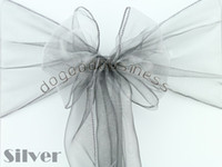 organza fabric - silver Organza Chair Sashes Bow Cover Banquet promotion price good custom service and quality