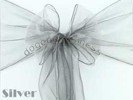 Wholesale silver Organza Chair Sashes Bow Cover Banquet promotion price good custom service and quality
