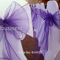 Cheap Wholesale-Fatory price 100pcs High Quality Cadbury purple Organza chair sashes Bow Cover Wedding Banquet Venue Decoration
