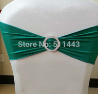 Wholesale Teal Elastic Lycra Chair Sash Wedding Spandex Stretch Chair Band With Plastic Buckle