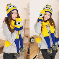winter hat scarf and glove set - Fashion Minions Despicable Me Hat Scarf and Gloves Set Autumn and Winter Warm Yellow Knitted Scarf Set