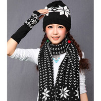 Wholesale Excellent New Winter Cotton Fashion Knit Hat Women Scarf Hat Gloves Sets Hat And Scarf Set For Women