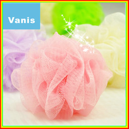 Wholesale-Wholesale 50pcs Multicolor Senior Supper Soft Bath Ball Body Brush Bathsite Wash Flower Cleaning for Baby Kid Shower Sponge Puff