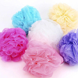 Wholesale-Mesh Net Wash Bath Ball Body Exfoliate Puff Sponge Scrub Lily Shower 7 Colors
