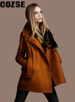 Wholesale New Autumn Loose Style Solid Wool Double Breasted Outerwear Women Coats European Fashion Style D3122