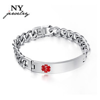 medical id - Men s ID bracelet amp bangle engraving medical stainless steel mens jewelry never rust top quality