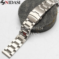 band insurance - New Silver Bracelet Straight End mm Steel Solid Links Watch Band Strap Watchbands Double Insurance Clasp