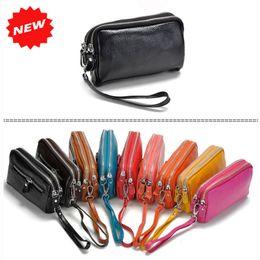 Wholesale Genuine Leather Women Coin Purse Double Zipper Mobile Bag New Arrival Lady Clutch Wristlet Small Bags ANS SL