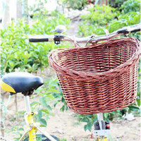 bicycle wicker - New fashion Outdoor Bicycle Manual Wicker Basket Classic Style Rustic Bike Willow Straps Basket