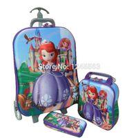 baby suitcase set - Baby Girls Cartoon Princess Sofia Luggage Bag Suits Children s Trolley Case Set Kids Wheeled Travel Case Birthday Gifts