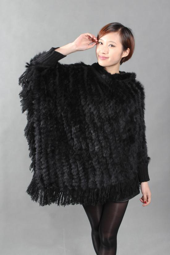 2017 Wholesale New Real Genuine Rabbit Fur Shawl Poncho Women