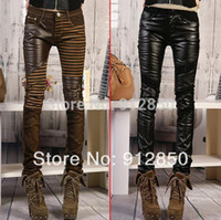 Wholesale High quality PU leather jeans for women fashion Casual pants feet Denim jeans for woman pencil pants big size black