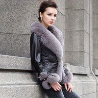 leather and fur garment - Real sheep leather coat jacket fox fur collar and trim overcoat ladies garment colors