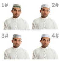 muslim prayer cap - NEW HIGH QUALITY EMBROIDED DESIGN MENS SKULL CAP TOPI HAT MUSLIM PRAYER