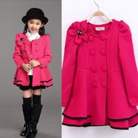 Wholesale Girls Dress Coat Limited Long Girls Fall New Kids Windbreaker Jacket Shoulder Flower Skirt Girl Double Breasted Trench Coat