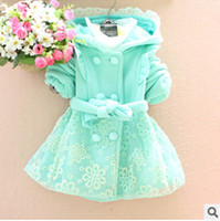 Wholesale autumn and winter new arrival babi girl jacket Coats for children child plaid cardigan thickening outerwear trench top