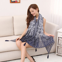 bali manufacturer - new Bali yarn of blue and white porcelain Taobao Fashion Scarf Shawl scarves hanging to manufacturers selling FT58