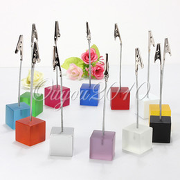 Wholesale cube stand alligator wire card note picture memo photo clip holders table wedding favor place color to choose