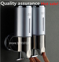 bathroom accessories double - Hot sale stainless panel soap dispenser double slider manual soap dispenser hand sanitizer bottle bathroom accessories