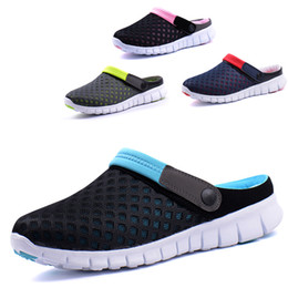 Wholesale Summer Men s Slipper Men Hole Hollow Ventilating Sandals Clogs Beach Clogs Breathable Mesh Clogs Light AbrasionMD Plus Size