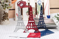 Wholesale colored hollow steel Eiffel Tower Bookends set for home decor free ship