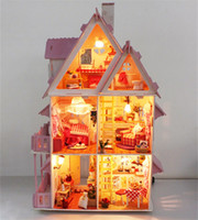 alice hot toys - Hot Sunshine Alice Pink DIY Wooden Miniatura Doll House Furniture Handmade D Miniature Dollhouse Toys Gits casa de boneca
