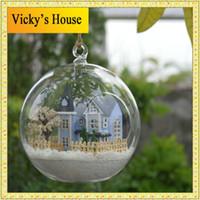 Wholesale angel fairy town Miniature Castle dollhouse led light doll house in Glass ball diy toys