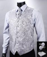 Wholesale Fall VE12 Silver Gray Paisley Top Design Wedding Men Silk Waistcoat Vest Pocket Square Cufflinks Cravat Set for Suit Tuxedo
