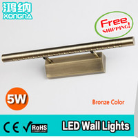 bathroom lighting bronze - High Quality W LED Wall Lamp Bronze Color Stainless Steel Material LED Wall Lights Bathroom Bedroom Mirror Lights