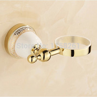 Wholesale Luxury Golden plated finish toilet brush holder with Ceramic cup household products bath decoration bathroom accessories
