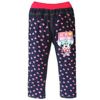 Wholesale new cute baby girl jeans children kids pants trousers lovely baby jeans with pocket retail for T baby