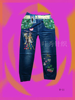 Wholesale New Spring Character Heart Printing Fashion Baby Girls Pants Trousers For Years Old Baby Jeans