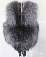 Wholesale Hot sale Autumn Winter Silver Fox Fur Vest gilet outwear womens with Fox Heads