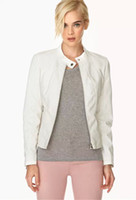 american libraries - libraries Spring new European and American women s wave point stitching leather collar leather jacket