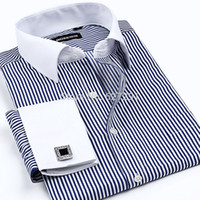 Wholesale New High quality Mens Shirts Designer Brand Fashion Business Casual Dress Shirt with french cufflinks XXXXL
