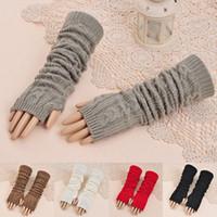 Wholesale Fashion Women Mens Knit Crochet Long Fingerless Winter Gloves Arm Warmer Mitten