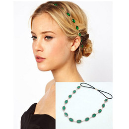 Wholesale Fashion Oval Head Chain Jewelry Sparkling Gems Headband Head Piece Hair Band Anne