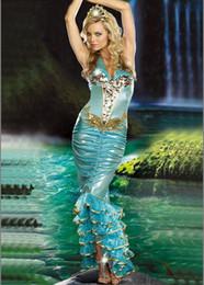 Wholesale Venta al por mayor sexy traje adulto sirena marca de alta calidad H1340 envío de la nueva vestido del traje de la reina del mar para niñas cosply fiesta de disfraces