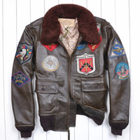 air force special - Fall Special Hot Avirex Men s Classical Thick Genuine Leather Motorcycle Leather Jacket Tom Cruise Top Gun Air Force jaqueta de couro