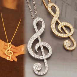 Promotion pendeloques de cristal Vente en gros-Mode Cristal Décoration Musique Symbole Pendants Collier Charm Bijoux NL-0428