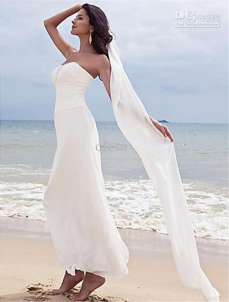 Discount 2016 cheap beach wedding dresses simple elegant for Inexpensive beach wedding dresses