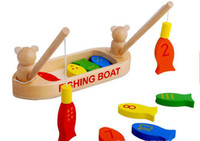 Wholesale toys for children Exempt postage wooden toys filial fishing fishing magnetic toys JZ04 fishing boats