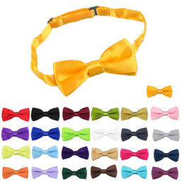 Wholesale-NEW Children Girls Boys Toddler Bowtie Pre Tied Wedding Bow Tie Plain Necktie