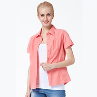 Wholesale IKAI Camisas Femininas Short Sleeve Quick Dry Women Fishing Shirt Breathable Summer Hiking Shirt Outdoor Running Shirt HWD0021